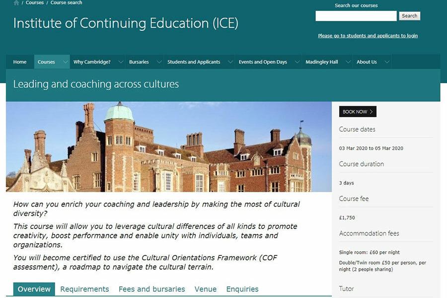 COF certification at the UNIVERSITY OF CAMBRIDGE
