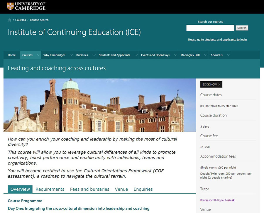 COF certification at the UNIVERSITY OF CAMBRIDGE